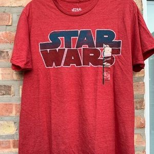Star Wars red T-shirt spell out font NWT